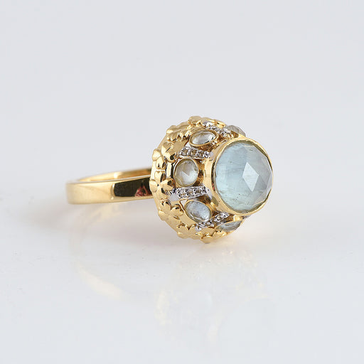 14K Gold Aquamarine Ring