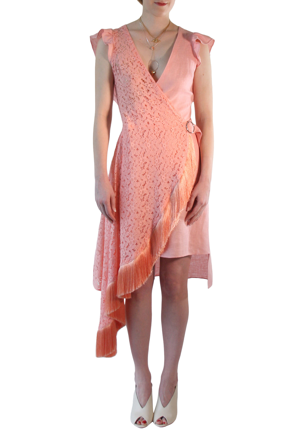 Asymmetric Cotton Linen Wrap Midi Dress Coral