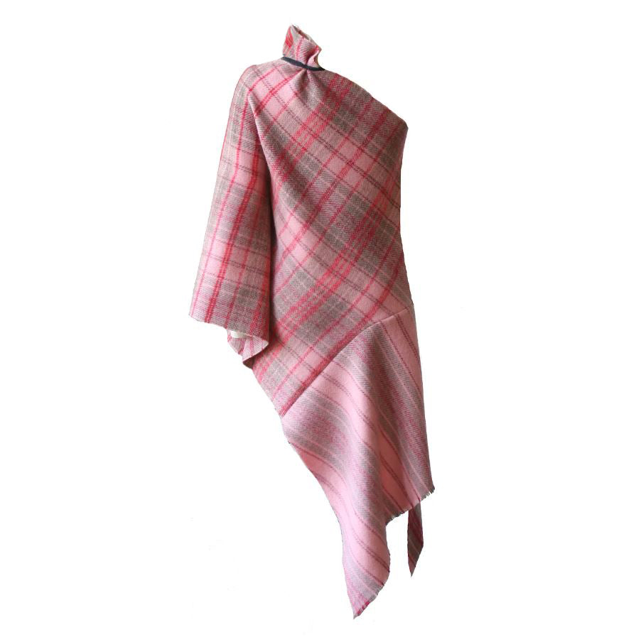 Asymmetric Checked Cashmere Cape