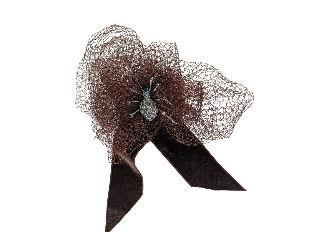 FESTIVE SPIDER SILK TULLE BOW HAIR CLIP