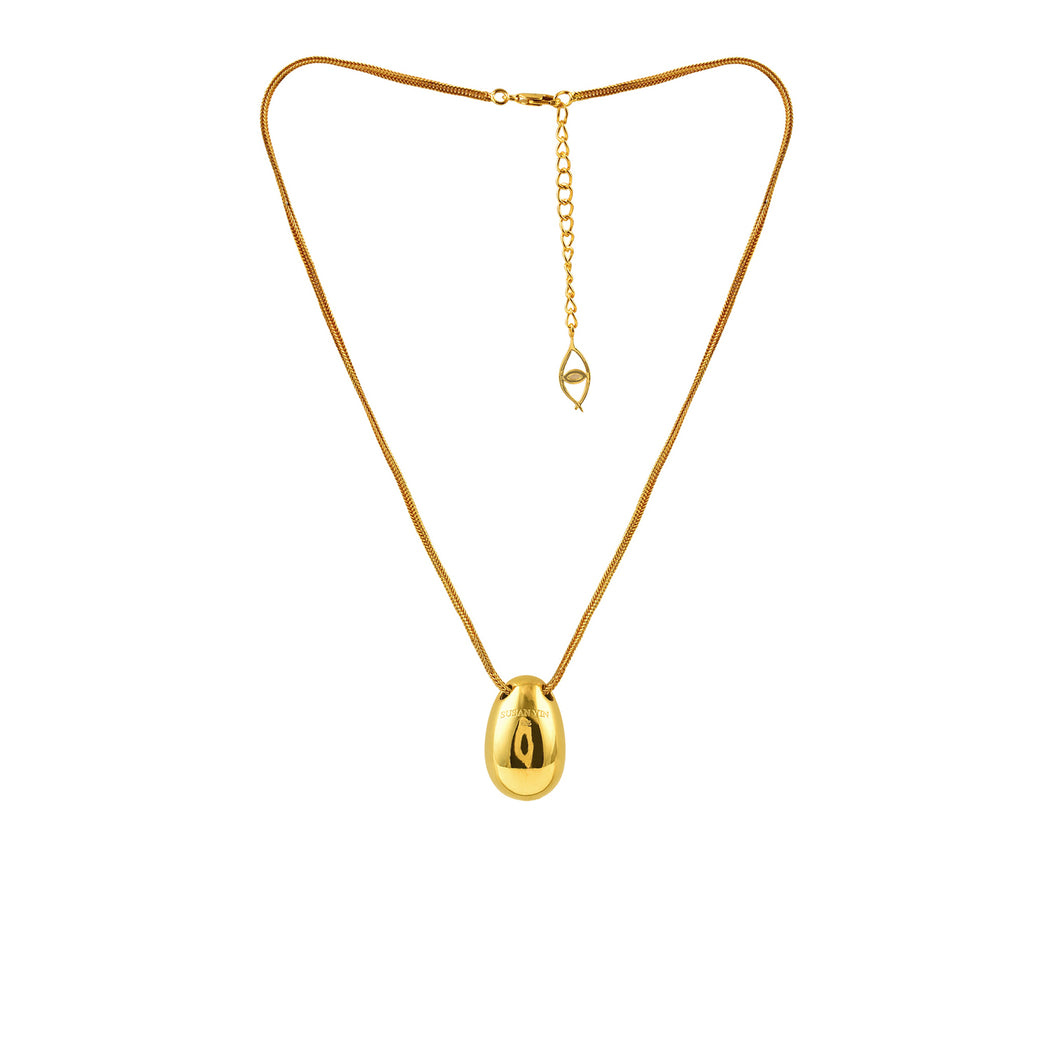 Gold Egg Pendant Necklace