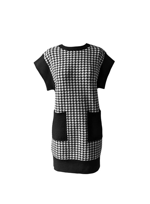 HOUNDSTOOTH MERINO WOOL DRESS