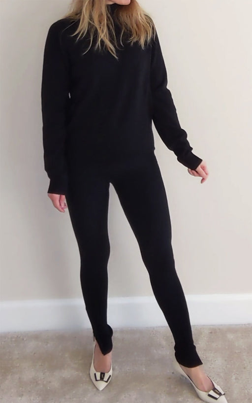 Merino Wool Leggings Black