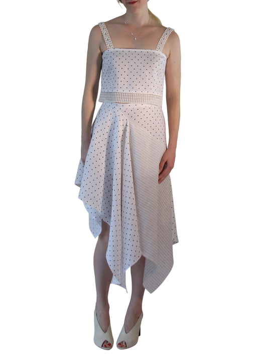 Polka Dot Asymmetric Linen Skirt