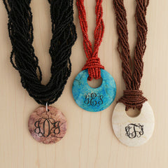 Monogram jade and marble necklaces