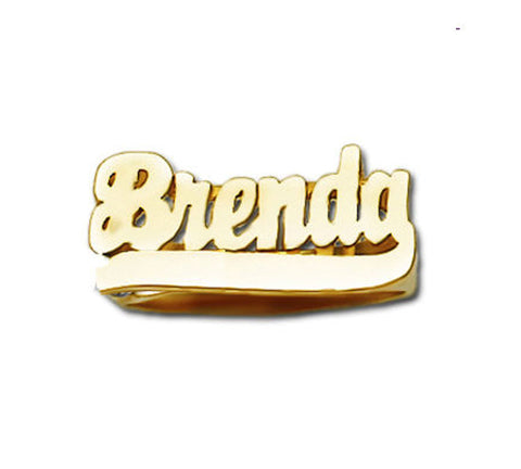 14k gold name ring with tail