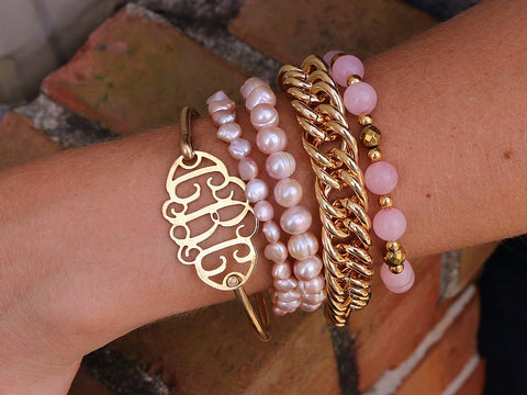 gold filigree monogram bracelet