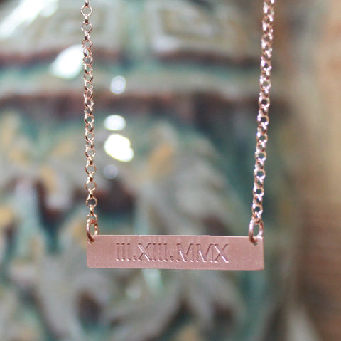 rose gold bar necklace - roman numera;