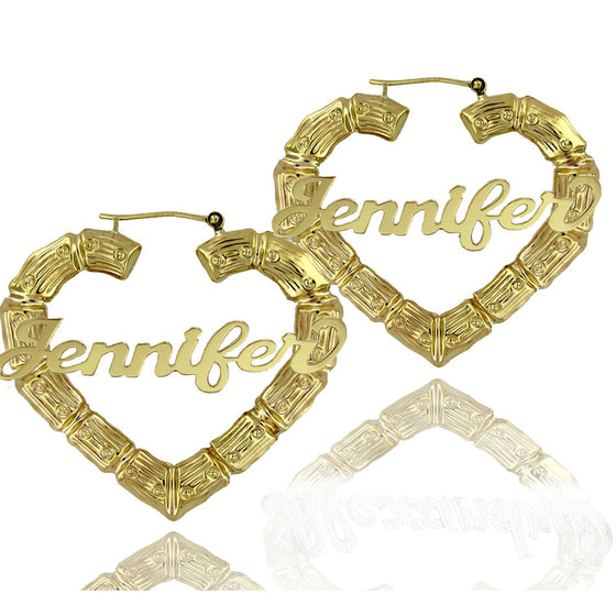 10K Gold Large Heart Name Hoop Earrings