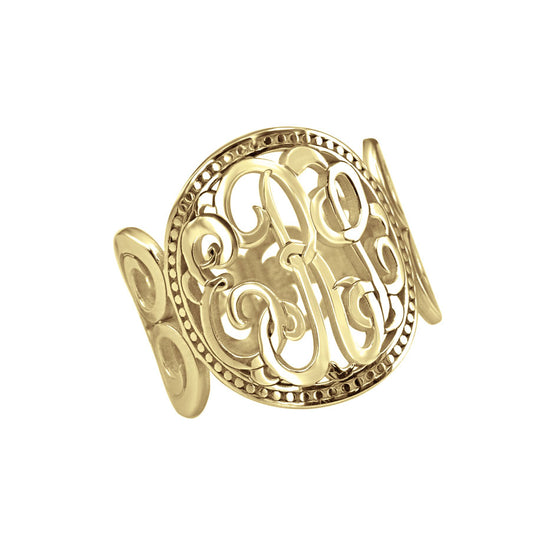 10K Gold Classic Rimmed Monogram Ring