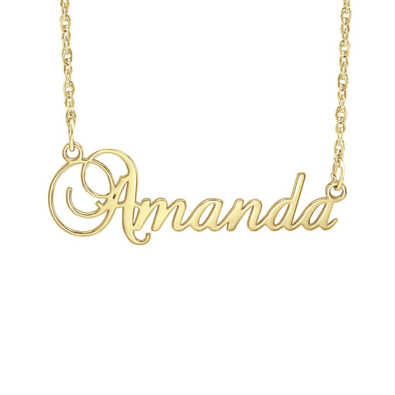 10K Gold Fancy Script Name Necklace