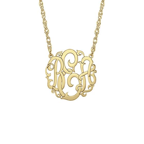 10K Gold Mini Vine Script Monogram Necklace