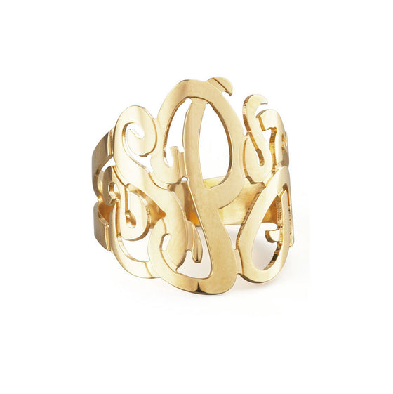 10K Solid Gold Monogram Ring