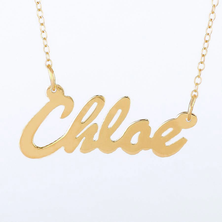 com hand family cursive aolo color jewelry necklace stamped amazon silver letter angel dp