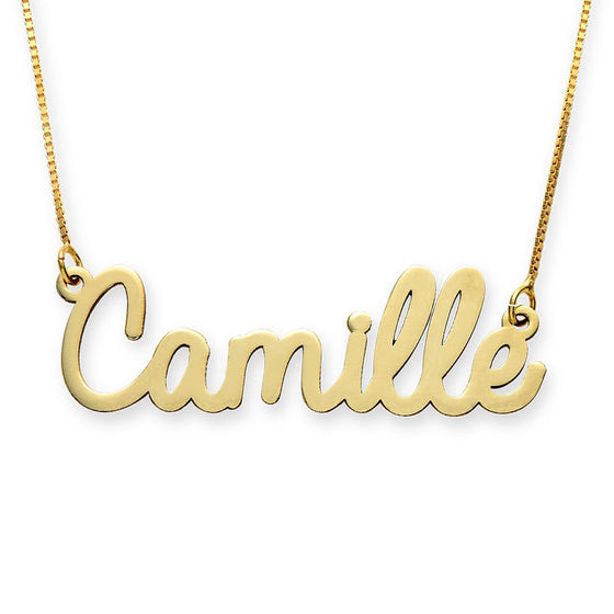 10K Solid Gold Cursive Name Necklace