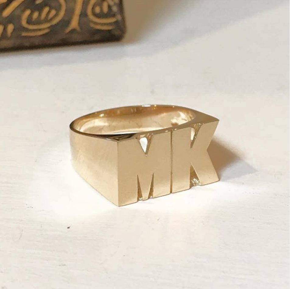 Personalized 14K Gold Two Initial Monogram Ring- 10mm 2