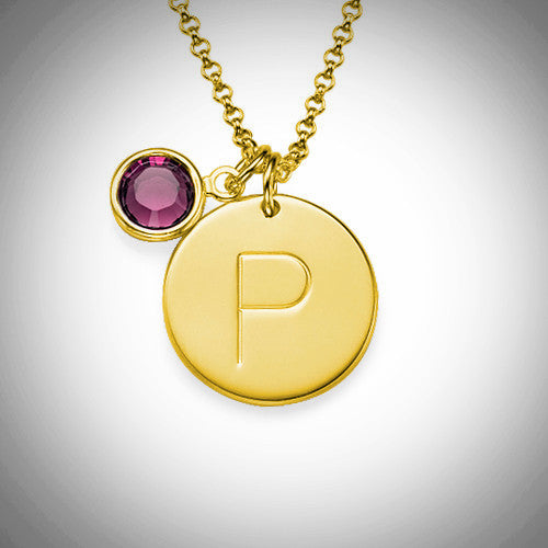 gold engraved disc necklace with birthstone