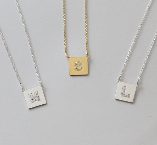 Square Gold Disc Cz Initial Necklace Chelsea Handler Alternate 2