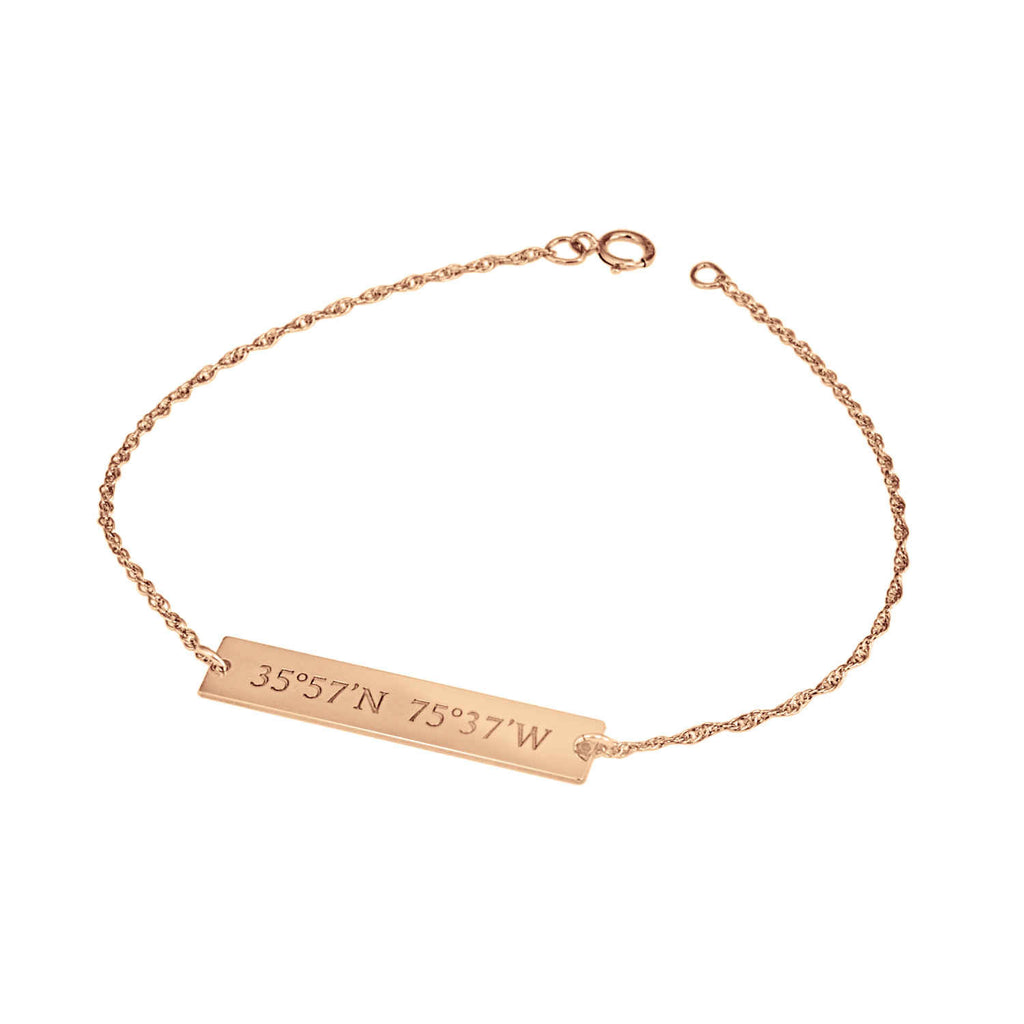 Personalized 14K Gold Coordinates Bar Bracelet 3
