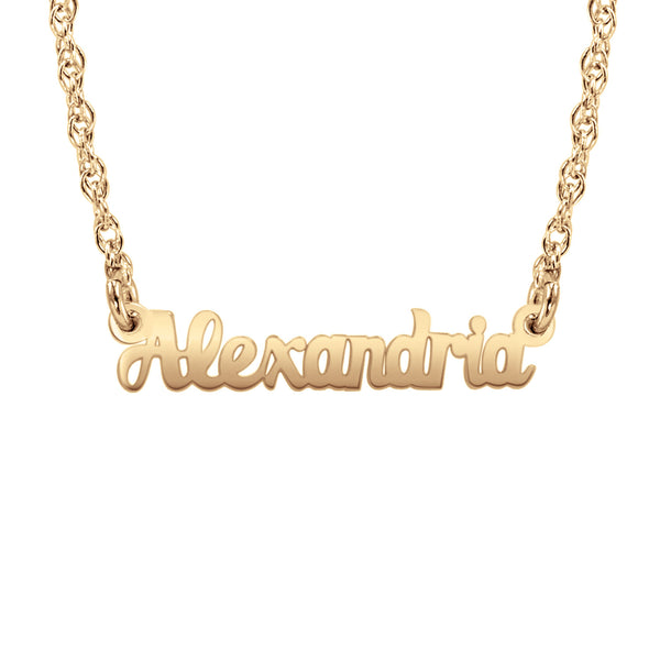14K Solid Gold Mini Name Necklace Be Monogrammed