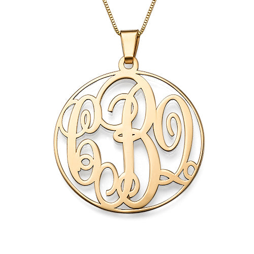 14K Solid Gold Rimmed Monogram Necklace
