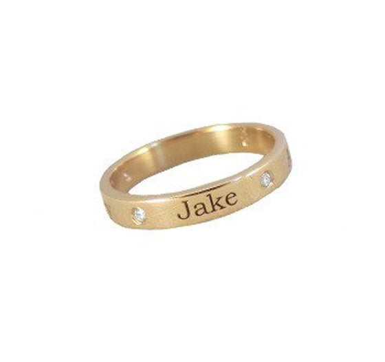 Engraved 14K Gold Diamond Band Ring 3