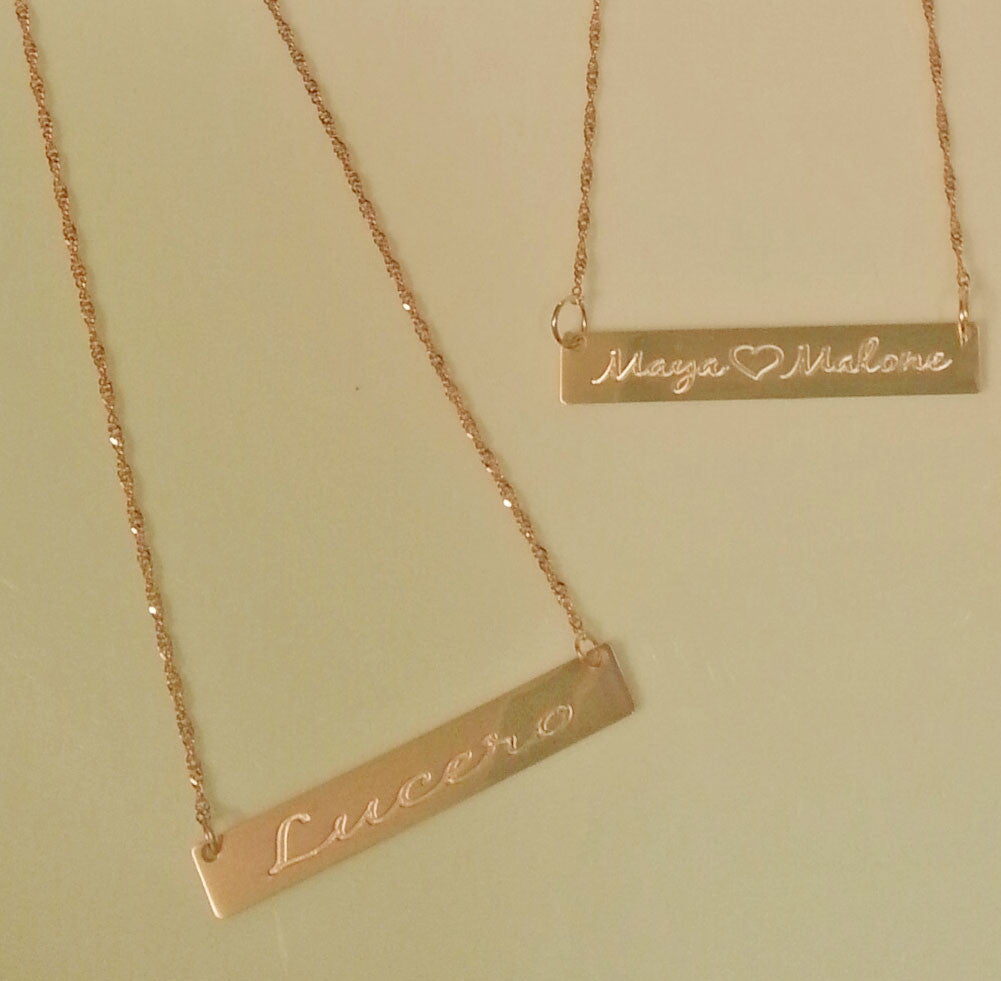 14K Solid Gold Engraved Bar Necklace 2