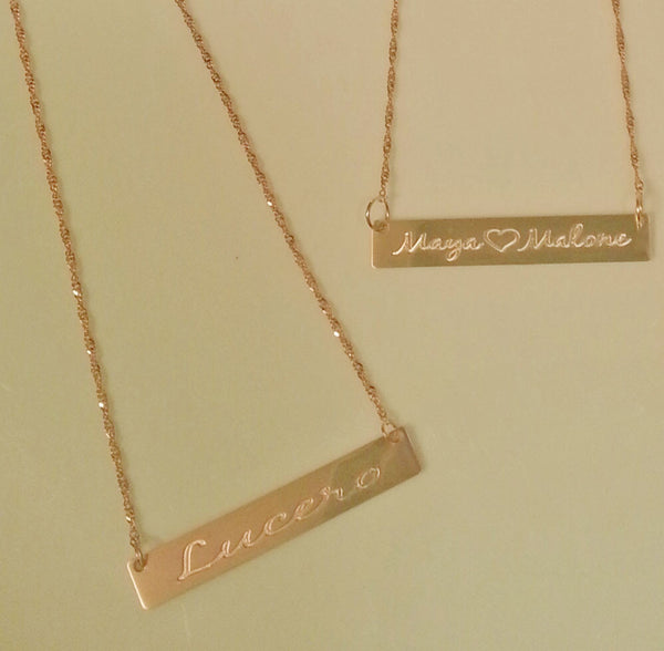 Personalized 14k Solid Gold Bar Necklace Be Monogrammed