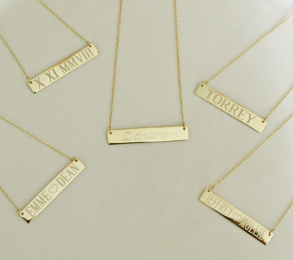 14K Gold Engraved Bar Necklace 2
