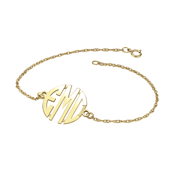 14K Solid Gold Block Monogram Bracelet