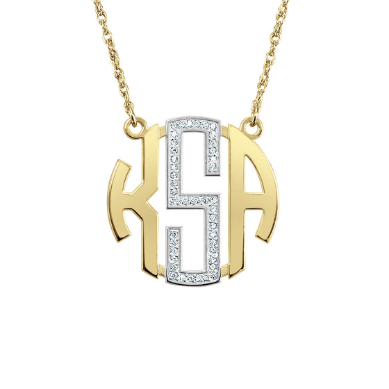 14K Gold Diamond Block Monogram Necklace 3