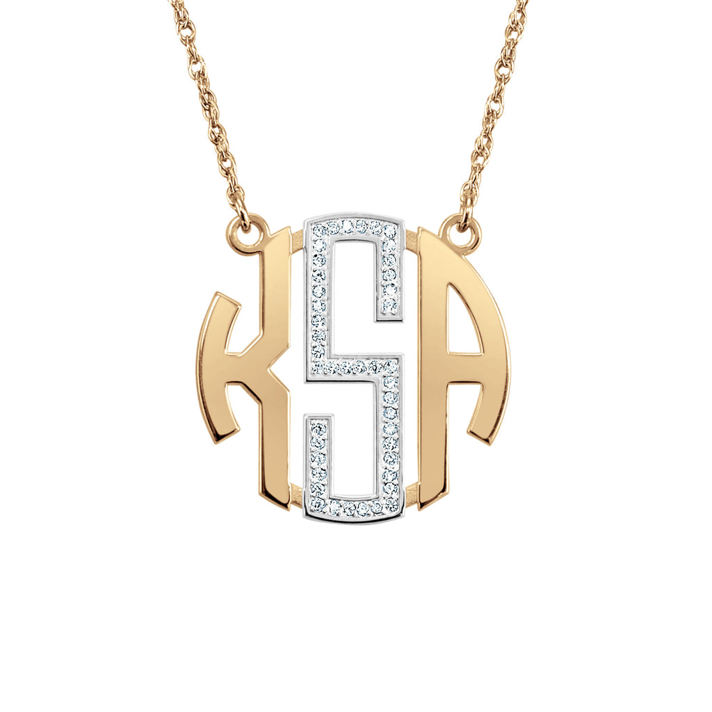 14K Gold Diamond Block Monogram Necklace 2