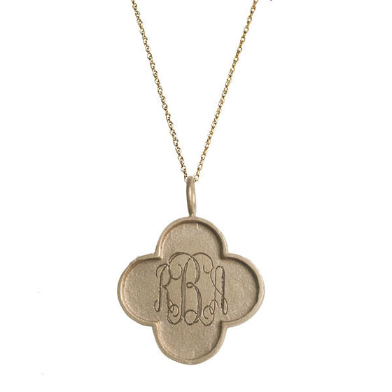 14K Solid Gold Clover Edge Initial Necklace