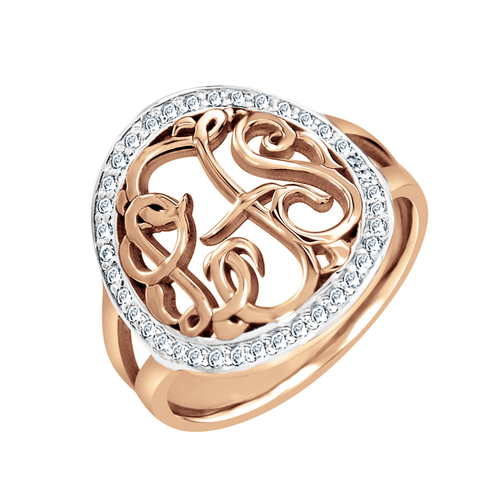 14K Gold Diamond Monogram Halo Ring