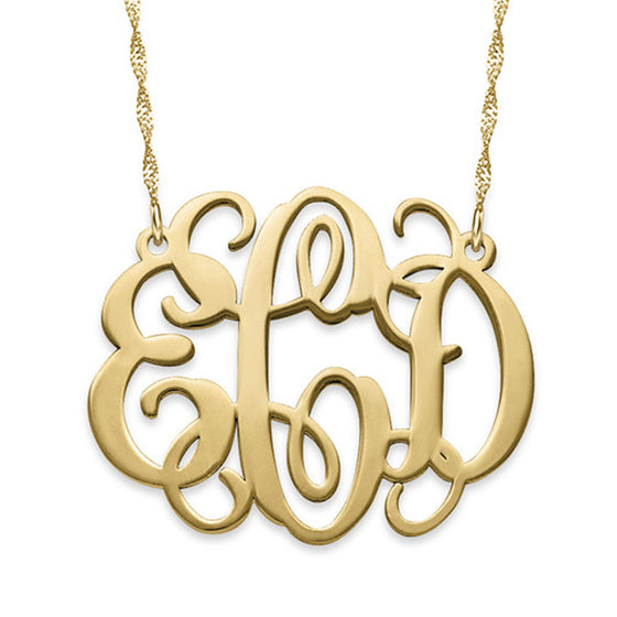 small 14k solid gold monogram necklace