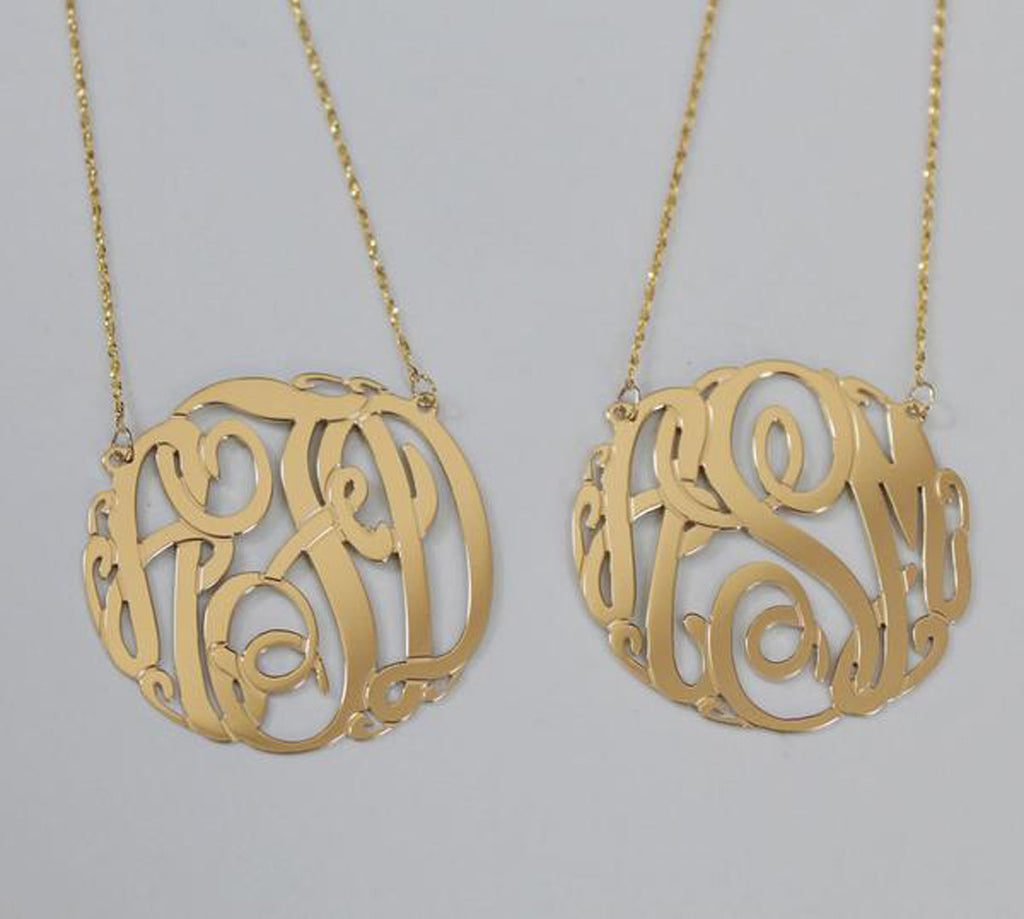 14K Gold Monogram Necklace - Big Slim 3