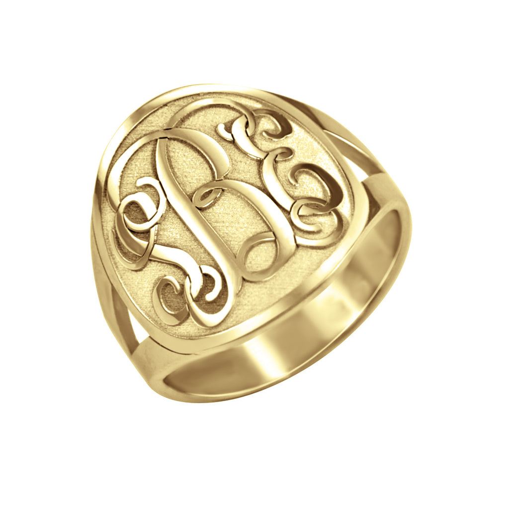 14K Gold Recessed Monogram Ring