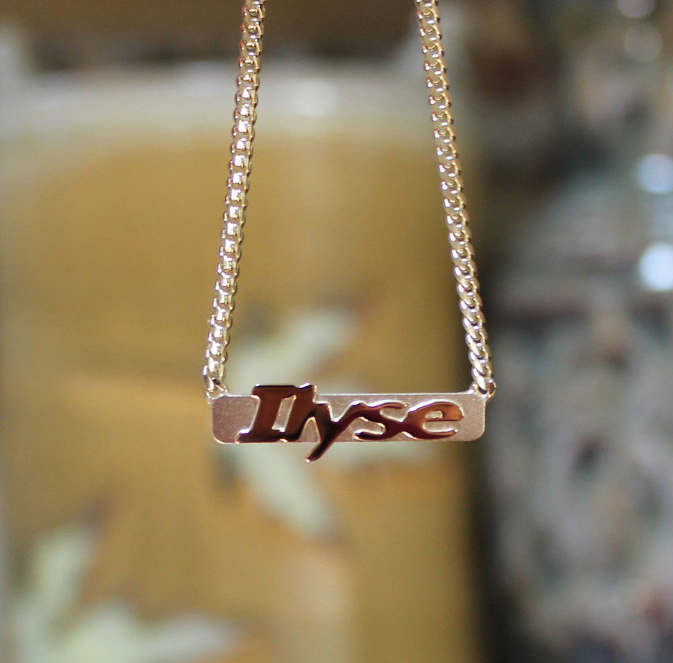 14K Solid Gold Raised Letter Bar Necklace 2