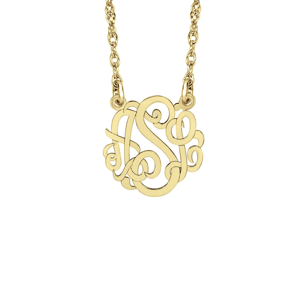 14K Solid Gold Mini Monogram Necklace