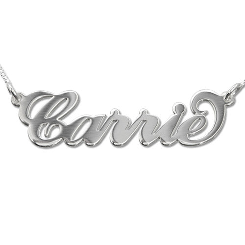 14K Solid Gold Carrie Style Name Necklace