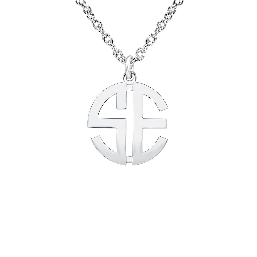 Block Mini Monogram Necklace  - two initial