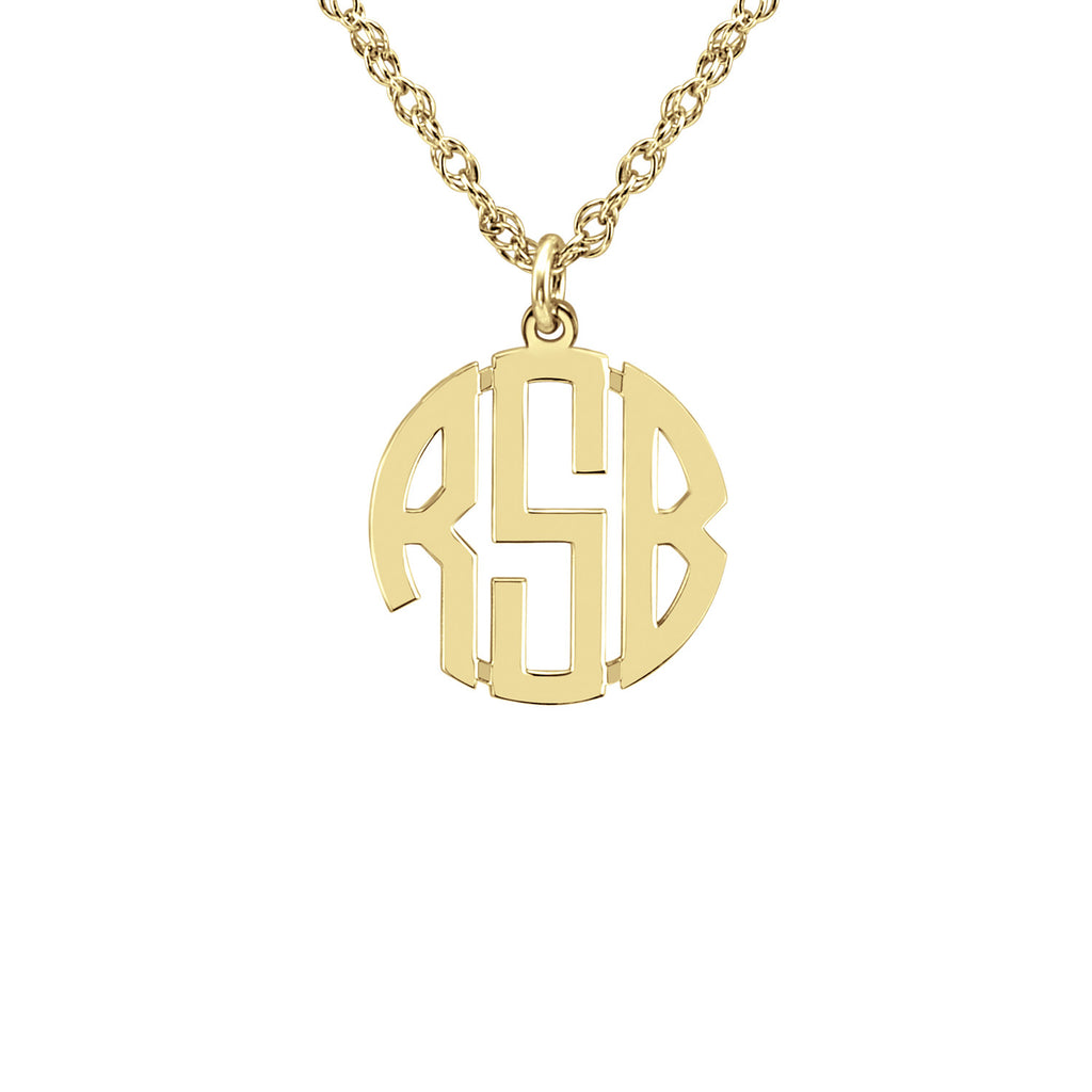 14K Gold Block Mini Monogram Necklace 2