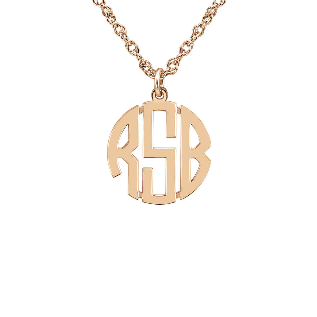 14K Gold Block Mini Monogram Necklace 4