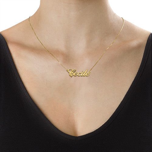 14K Gold Nameplate Necklace with Diamond 2