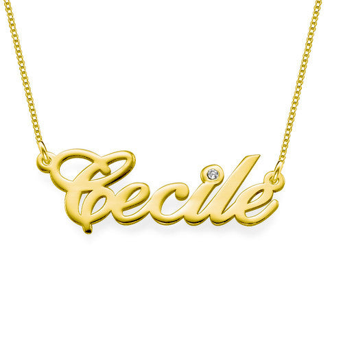 14K Gold Nameplate Necklace with Diamond