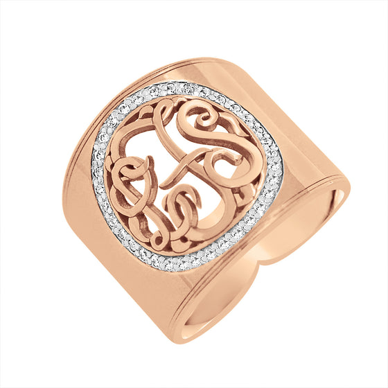 14K Gold Cigar Band Diamond Monogram Ring