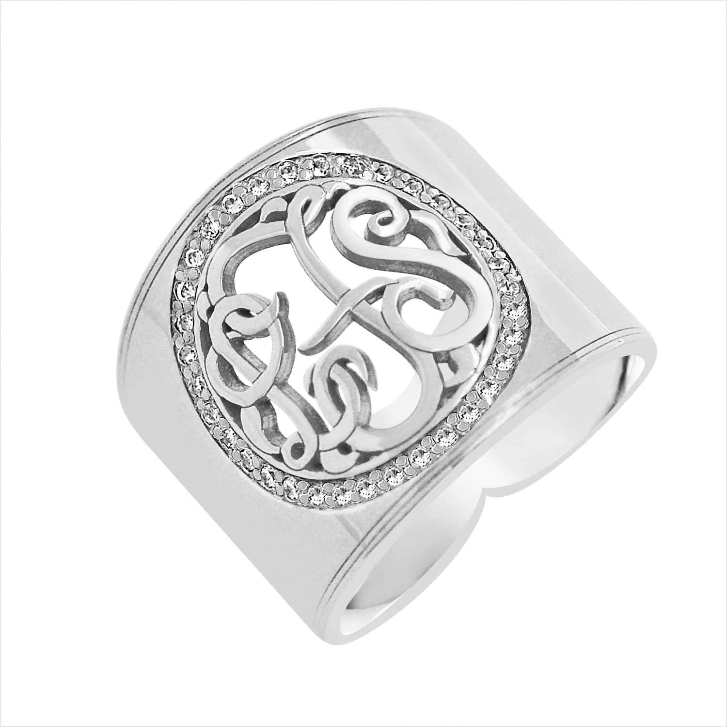 Details about  /14k Gold-Plated .925 Silver Two-Tone Scroll Cigar Band