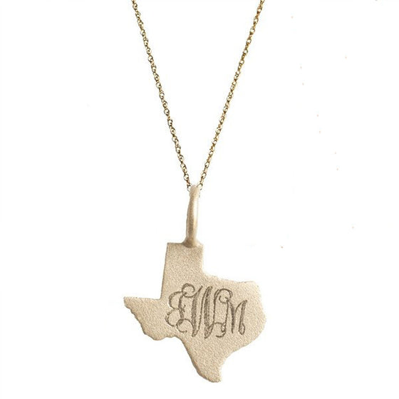 14K Solid Gold Engraved Texas Necklace