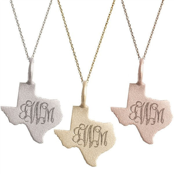 Texas Tech Jewelry Diamontrigue Jewelry: 14K Solid Gold Engraved Texas Necklace