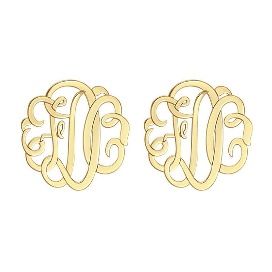 14K Solid Gold Script Monogram Stud Earrings